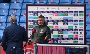 Ole Gunnar Solskjaer gives TV Interview prior to the Leeds match at Elland Road
