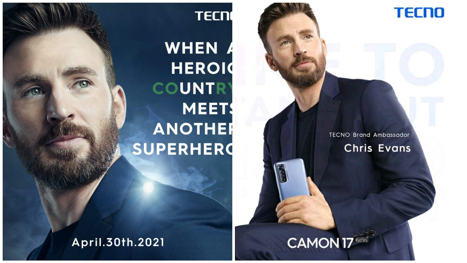 Chris Evans Tecno global brand ambassador