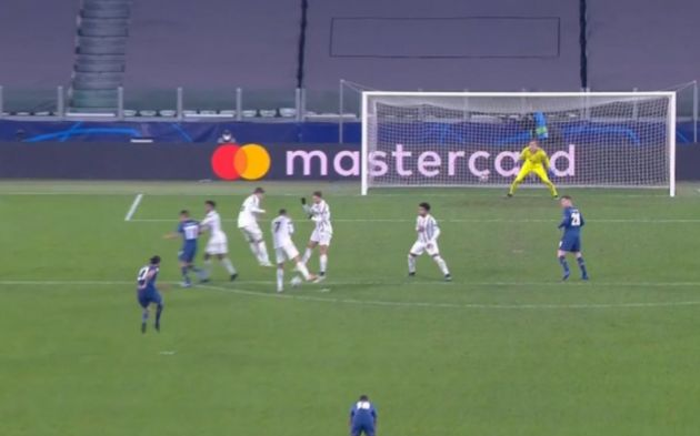 Ronaldo allowing the decisive goal as he turns his back on a Porto free kick