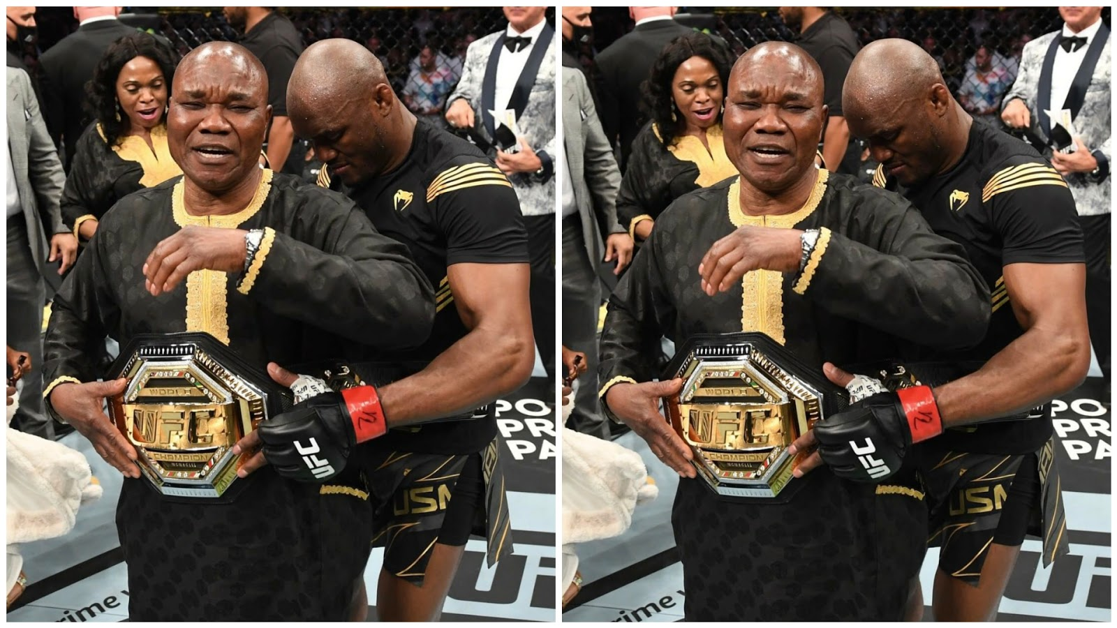 UFC 261: The emotional moment Kamaru paid tribute to his dad who's watching him live for the first time after 10yrs in jail