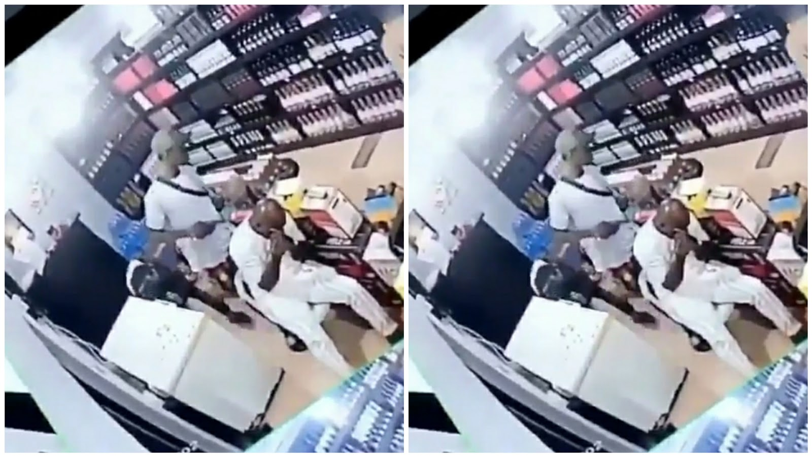 CCTV camera robbing a wine shop in Lagos