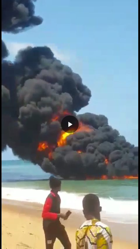Fire Burning on water in Lagos